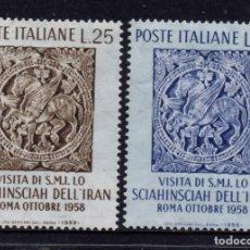 Sellos: ITALIA 773/74** - AÑO 1958 - VISITA DEL SHA DE PERSIA. Lote 257870290