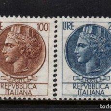 Sellos: ITALIA 802/03** - AÑO 1959 - MONEDA DE SIRACUSA. Lote 257872040