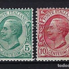 Sellos: 1906 ITALIA MICHEL 88/89 YVERT 76/77 REY VICTOR MANUEL III MNH** NUEVOS SIN FIJASELLOS. Lote 258131840