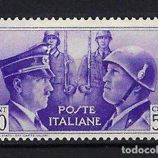 Sellos: 1941 ITALIA MICHEL 626 YVERT 435 HITLER Y MUSSOLINI MNH** NUEVO SIN FIJASELLOS. Lote 258132565