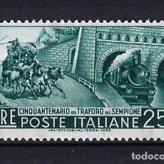Sellos: 1956 ITALIA MICHEL 966 YVERT 724 DILIGENCIA Y TREN MNH** NUEVO SIN FIJASELLOS. Lote 258150180