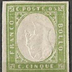 Sellos: SARDEGNA 1853 - CERDEÑA 1853 - SELLO INVERTIDO - SIN USAR - BOLLO 5 CTS. Lote 259891020