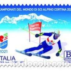 Sellos: SELLO ADESIVO USADO DE ITALIA 2021, ESQUI. Lote 263001800