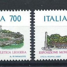 "Sellos: ITALIE N°1751/52** (MNH) 1987 - EXPOSITION PHILATÉLIQUE ""OLYMPHILEX'87"" (BIS). Lote 263222730"