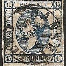 Sellos: ITALIA 1863 - VICTOR EMMANUEL - AZUL - USADO. Lote 264183824