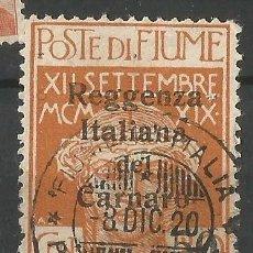 Sellos: ITALIA - 1920 - FIUME - SOBRECARGA REGENZA DEL CARNARO - CANCELACIÓN MILITAR - USADO. Lote 266657023