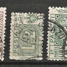 Sellos: ITALIA - 1914 - FRANCOBOLLI - PACCHI - LOTE 11 SELLOS USADOS. Lote 267131124