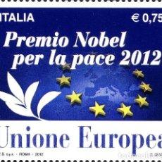 Sellos: ITALIA 2012 - PREMIO NOBEL PER LA PACE 2012 ALL'UNIONE EUROPEA MNH. Lote 270663633