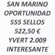 Sellos: INTERESANTE LOTE SAN MARINO, COMPUESTO POR 555 SELLOS, CON 522,50 € CATALOGO YVERT 2.009 +. Lote 277267423
