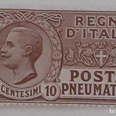 Sellos: APRILE 1913 - PNEUMATICA TIPO LEONI 10 C. - EFFIGIE DI VITTORIO EMANUELE III ENTRO UN OVALE. Lote 287332828