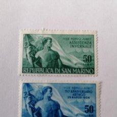 Sellos: SELLOS SAN MARINO,1956, SERIA COMPLETA 2 UNID. NUEVOS **. Lote 287585488