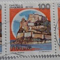 Sellos: 22 SETTEMBRE 1980 - CASTELLI D'ITALIA 100 L. - CASTELLO ARAGONESE, AD ISCHIA. Lote 287773888