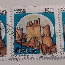 Sellos: 22 SETTEMBRE 1980 - CASTELLI D'ITALIA 50 L. - ROCCA DI CALASCIO, A L'AQUILA. Lote 287774843