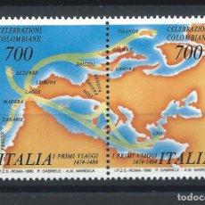 Sellos: ITALIE N°1835/36** (MNH) 1990 - 1ER VOYAGE DE CHRISTOPHE COLOMB. Lote 287815628