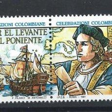 Sellos: ITALIE N°1908/09** (MNH) 1991 - DÉCOUVERTE DE L'AMÉRIQUE PAR CHRISTOPHE COLOMB. Lote 287825978
