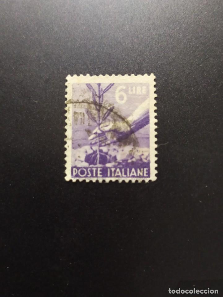 ## ITALIA USADO 1945 DEMOCRATICO 6 LIRAS## (Sellos - Extranjero - Europa - Italia)