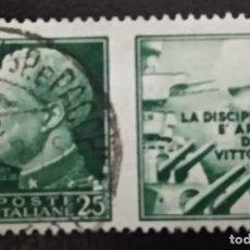 Sellos: ITALIA USADA CON VIÑETA PATRIOTICA -LA DISCIPLINA EL ARMAS DE LA VICTORIA- ,. Lote 294983343