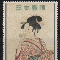 Sellos: JAPON. SET 1955. SEMANA DE LA FILATELIA ** MARCA DE FIJASELLO. Lote 84588208