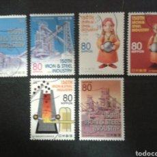 Timbres: JAPÓN. AÑO 2008. 6 VALORES. SERIE COMPLETA USADA. INDUSTRIA DEL ACERO Y CARBÓN. . Lote 98517618