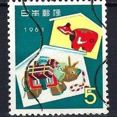 Francobolli: 1960 JAPÓN AÑO NUEVO - BEKO ROJO Y BEKOKO DORADO, JUGUETES. - USADO. Lote 184907673