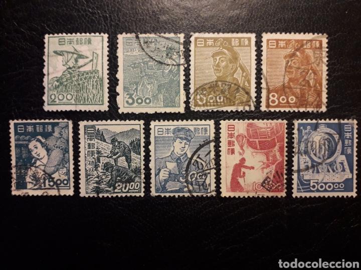 JAPÓN YVERT 392/402 SIN EL 395 Y 396 SERIE CORTA USADA 1948-1949. CON FILIGRANA (Sellos - Extranjero - Asia - Japón)