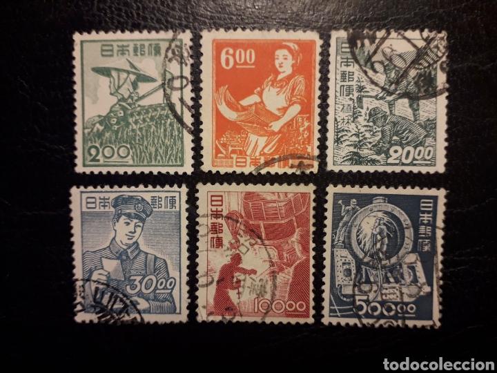 JAPÓN YVERT 392A/402A SIN EL 393A Y 397A. SIN FILIGRANA. SERIE CORTA USADA 1948-1949. (Sellos - Extranjero - Asia - Japón)