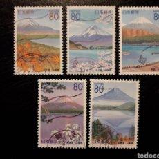 Sellos: JAPÓN YVERT 2585/9 SERIE COMPLETA USADA. 1999. PREFECTURA. MONTE FUJI Y LAGOS. Lote 221928617