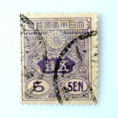 Sellos: SELLO POSTAL JAPÓN 1930, 5 SEN, TAZAWA (1926-1934) NUEVA IMPRESIÓN DE PLACA PLANA DE TROQUEL, USADO. Lote 248811190