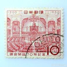 Sellos: SELLO POSTAL JAPÓN 1960, 10 YEN, APERTURA DE LA PRIMERA SESIÓN -70° ANIVERSARI JAPANESE DIET, USADO. Lote 248815385