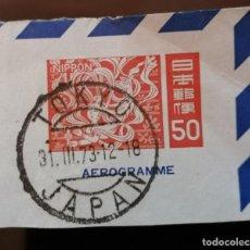 Sellos: 1973. JAPON, FRAGMENTO AEROGRAMA, MATASELLOS TOKIO. *MH. Lote 276272523