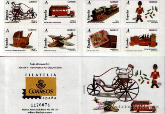 SERIE COMPLETA DE 8 SELLOS AUTOADHESIVOS DEDICADOS A LOS JUGUETES DE TARIFA A (Sellos - España - Juan Carlos I - Desde 1.975 a 1.985 - Usados)