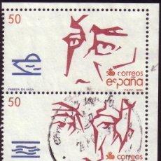 Sellos: ESPAÑA.(CAT.2973).50 P.PAREJA.SELLO SUPERIOR VARIEDAD LETRAS ROTAS POR DEFECTO DEL CLICHÉ. MUY RARA.. Lote 27091626