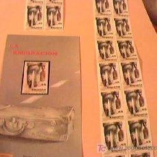 Sellos: LA EMIGRACION. LOTE DE 20 SELLOS DE 45 PTS. Y DIPTICO Nº 8/86. FECHA DE EMISION 22-4-86. ESPAÑA.. Lote 9460528