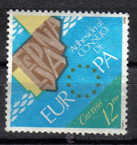 ESPAÑA 1978 - 12 P EDIFIL 2476. ADHESION DE ESPAÑA AL CONSEJO DE EUROPA. NUEVO SIN CHARNELA (Sellos - España - Juan Carlos I - Desde 1.975 a 1.985 - Nuevos)