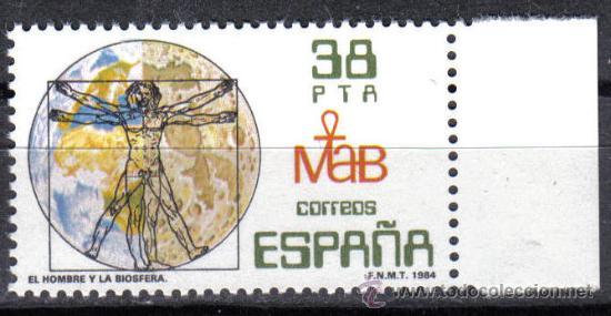 ESPAÑA 1984 - 38 P EDIFIL 2748. EL HOMBRE Y LA BIOSFERA. NUEVO SIN CHARNELA (Sellos - España - Juan Carlos I - Desde 1.975 a 1.985 - Nuevos)