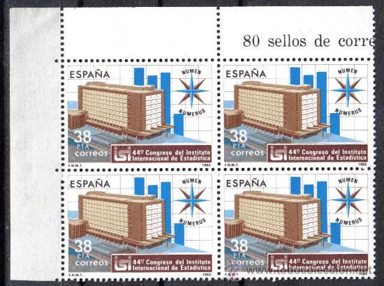 BLOQUE DE CUATRO - 1983 EDIFIL 2718 - INSTITUTO DE ESTADISTICA - NUEVOS SIN CHARNELA (Sellos - España - Juan Carlos I - Desde 1.975 a 1.985 - Nuevos)