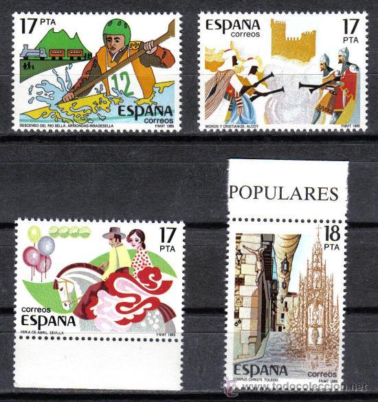 ESPAÑA 1985 - SERIE FIESTAS POPULARES EDIFIL 2783 A 2786 - NUEVO SIN CHARNELA (Sellos - España - Juan Carlos I - Desde 1.975 a 1.985 - Nuevos)
