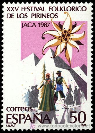 ESPAÑA EDIFIL 2910. AÑO 1987. XXV FESTIVAL FOLKLORICO DE LOS PIRINEOS EN JACA. (Sellos - España - Juan Carlos I - Desde 1.986 a 1.999 - Nuevos)