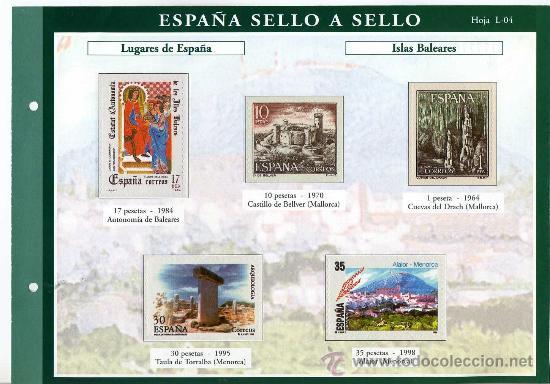 HOJA CON REPRODUCCIONES AUTORIZADA POR CORREOS DE LUGARES DE ESPAÑA ISLAS BALEARES +ENTIENDA (Sellos - España - Juan Carlos I - Desde 1.975 a 1.985 - Usados)
