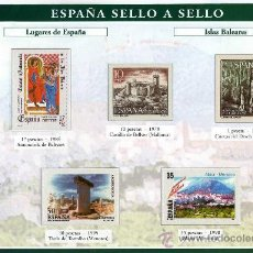 Sellos: HOJA CON REPRODUCCIONES AUTORIZADA POR CORREOS DE LUGARES DE ESPAÑA ISLAS BALEARES +ENTIENDA. Lote 20748296