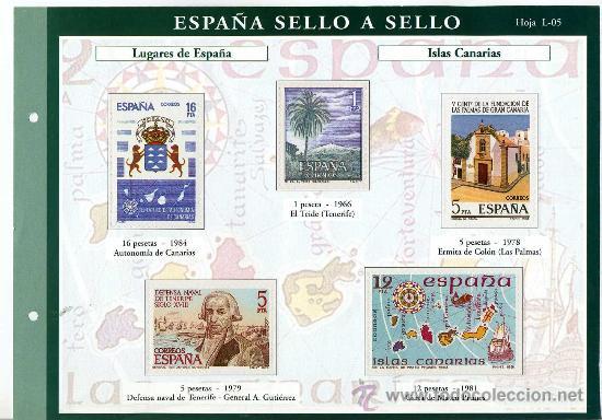 HOJA CON REPRODUCCIONES AUTORIZADA POR CORREOS DE LUGARES DE ESPAÑA ISLAS CANARIAS +ENTIENDA (Sellos - España - Juan Carlos I - Desde 1.975 a 1.985 - Usados)