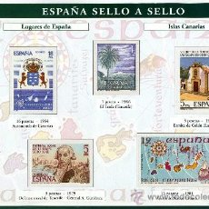Sellos: HOJA CON REPRODUCCIONES AUTORIZADA POR CORREOS DE LUGARES DE ESPAÑA ISLAS CANARIAS +ENTIENDA. Lote 25671157