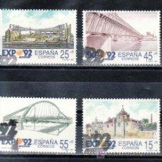 Sellos: ESPAÑA 3100/3 USADA, EXPO 92, EXPOSICION UNIVERSAL SEVILLA 1992, ARQUITECTURA. Lote 244989945