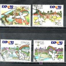 Sellos: ESPAÑA 3050/3 USADA, EXPO 92, EXPOSICION UNIVERSAL DE SEVILLA 1992, MASCOTA CURRO,. Lote 244990005