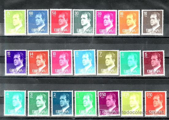 ESPAÑA 2386P - 2603P (21 VALORES) SIN CHARNELA, BASICA, PAPEL FOSFORESCENTE, (Sellos - España - Juan Carlos I - Desde 1.975 a 1.985 - Nuevos)