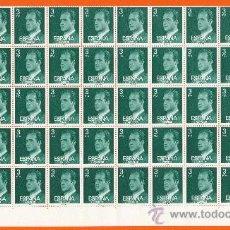 Sellos: S.M. DON JUAN CARLOS I. PLIEGO DE 100 SELLOS DE 3 P. 1976 (EN LA FOTO APARECE LA MITAD DEL PLIEGO). Lote 26515571