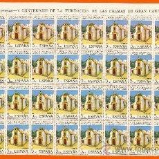 Sellos: V. CENTENARIO DE LA FUNDACIÓN DE LAS PLAMAS DE GRAN CANARIA. ERMITA DE COLÓN. PLIEGO 80 SELLOS 5 P.. Lote 26577023