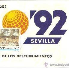 Sellos: HOJITA EXPOSICION UNIVERSAL DE SEVILLA 1992. Lote 113893530