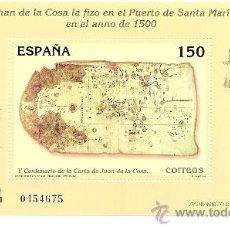 Sellos: HOJITA V CENTENARIO DE LA CARTA DE JUAN DE LA COSA 2000. Lote 17976850