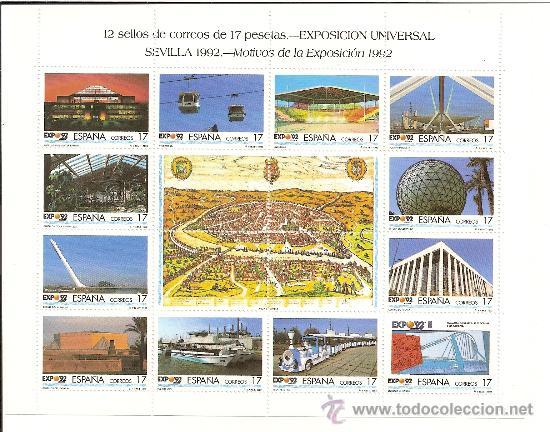 MINIPLIEGO EXPOSICION UNIVERSAL DE SEVILLA EXPO´92 (Sellos - España - Juan Carlos I - Desde 1.986 a 1.999 - Nuevos)